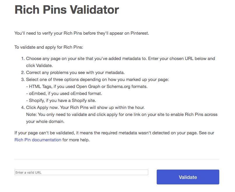 Pinterest's Rich Pins Validator