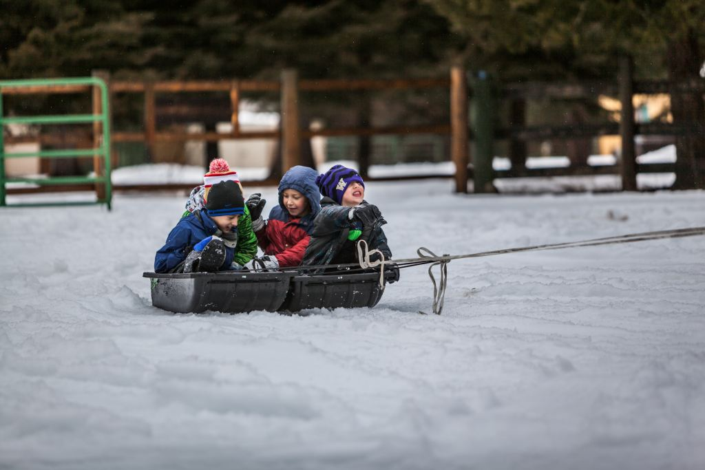 children being pulled on a sled