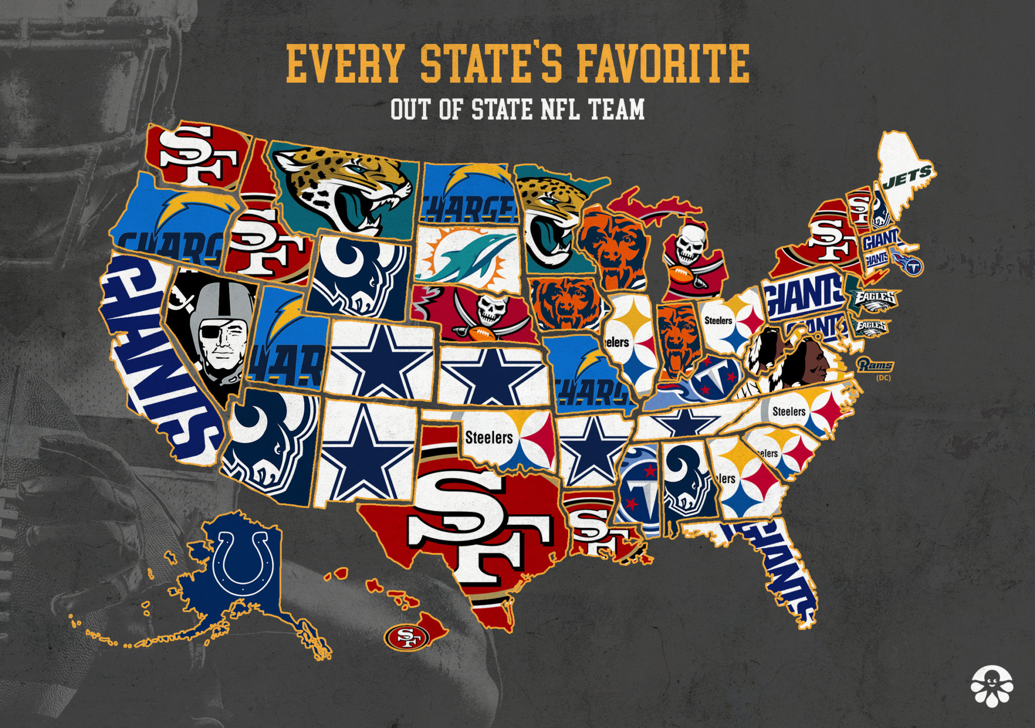 America S Favorite Out Of State Football Teams Mapped