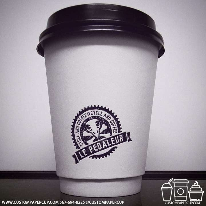 lepedaleur cycle custom coffee logo cup