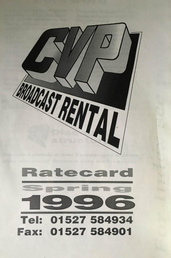 CVP rate card 1996