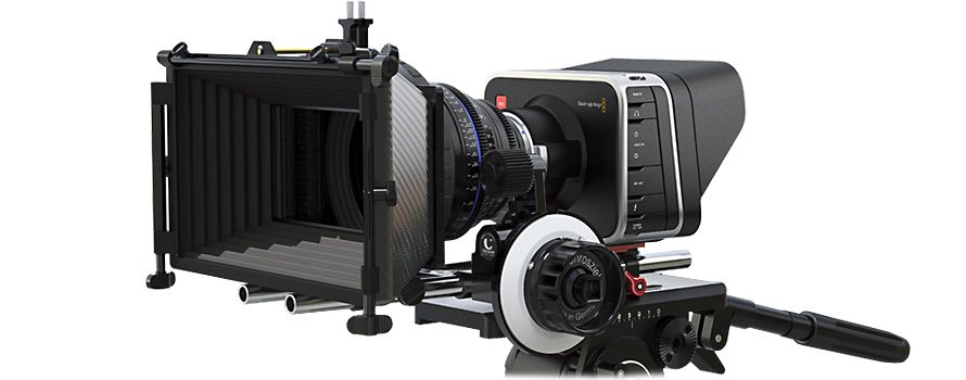 Blackmagic Design Cinema Camera fitted with a Zeiss CP.2 Compact Prime Lens, Matte Box & Follow Focus