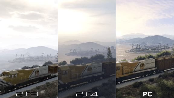 comparison of the game being played in PS3, PS4 and PC
