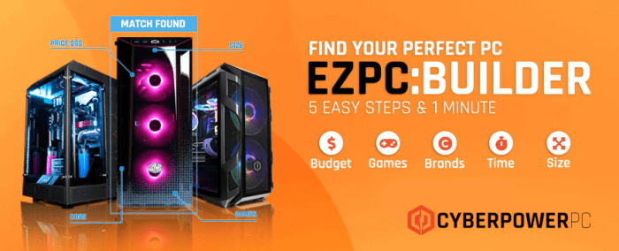 A banner for the EZPC:Builder to help you Buy a Gaming PC