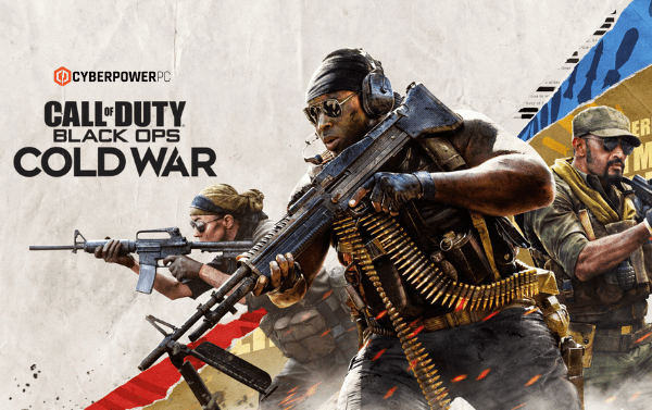 Promo shot of Call of Duty Black ops Cold War with 3 characters in battle