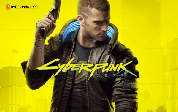 Promotional ad shot of Cyberpunk 2077 of the Male character, V