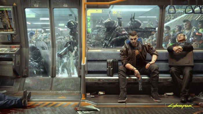 Train Scene shot of V in Cyberpunk 2077