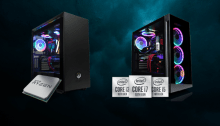 Two Cyberpower PC Systems with an AMD Ryzen logo and an Intel 10th Gen logo