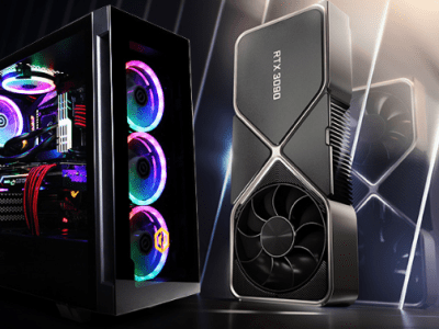 A Promotional shot of a Cyberpower PC with an Nvidia Rtx 3080 GPU