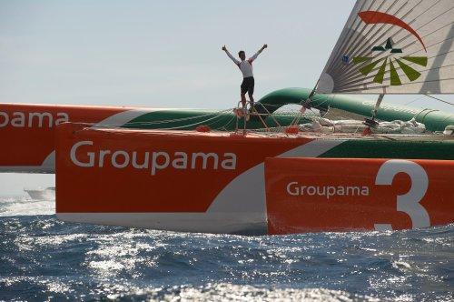 Franck Cammas victorieux sur la Route du Rhum avec Groupama 3