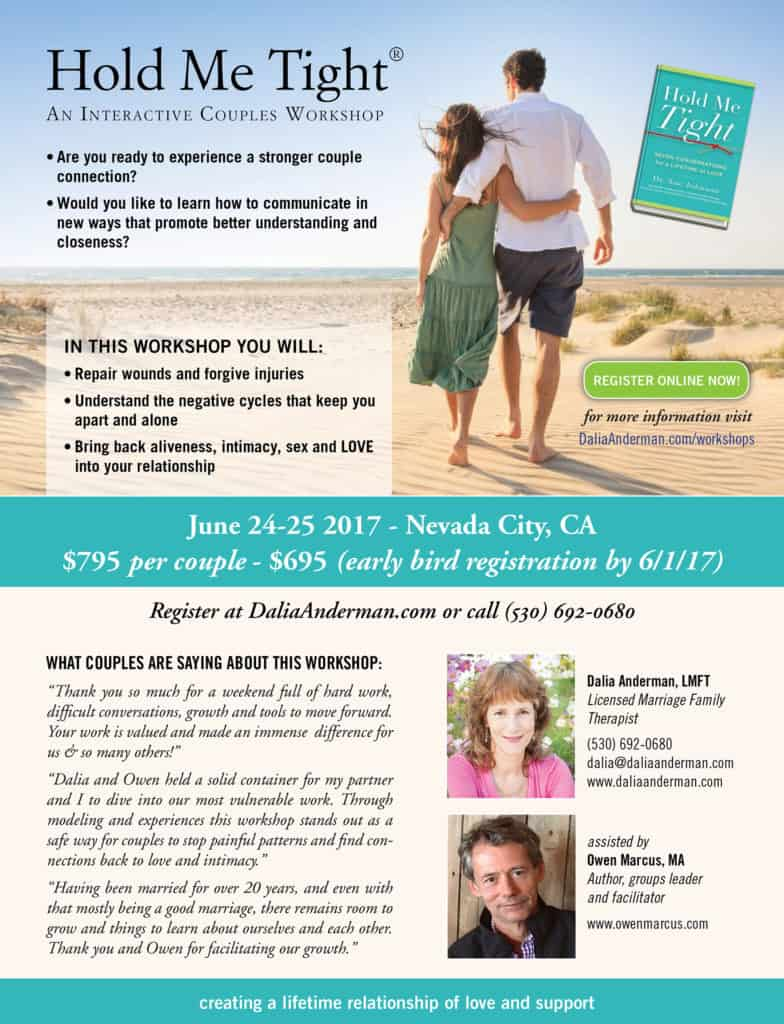Hold Me Tight Workshop-Northern California-June 24-25 2017