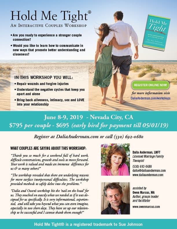 Hold Me Tight workshop for couples-Jun 2019