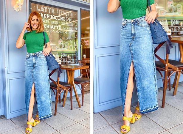 Look com saia longa jeans