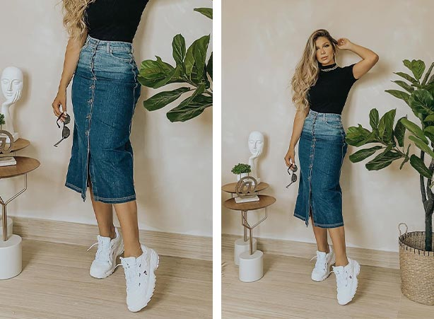 Saia jeans com abotoamento frontal