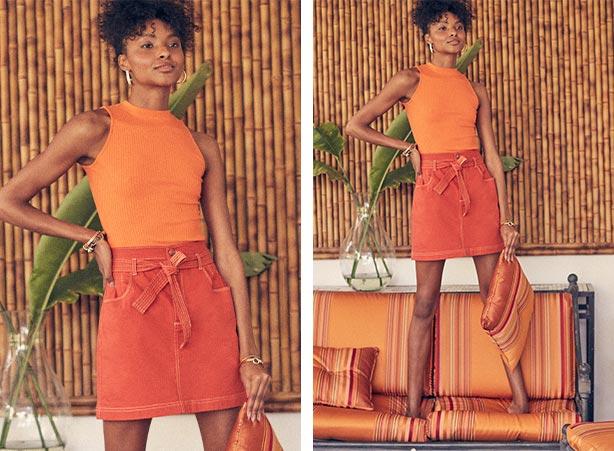 Saia laranja com blusa gola alta