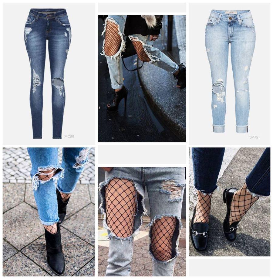 Jeans com meia arrastão