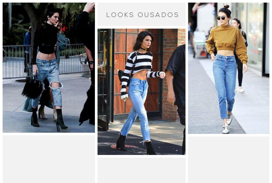 Kendall jenner usando calça cropped jeans
