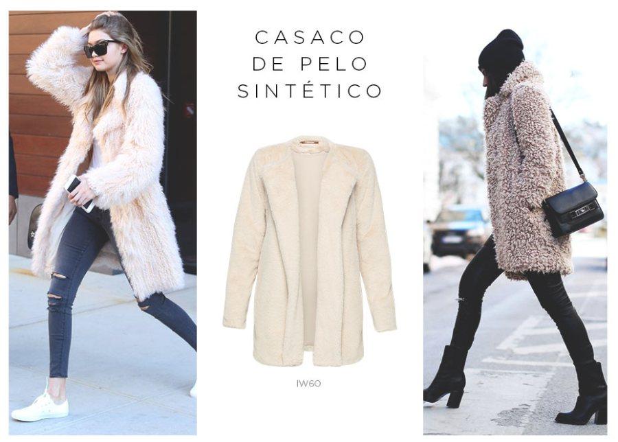 casaco de pelo sintético e jeans