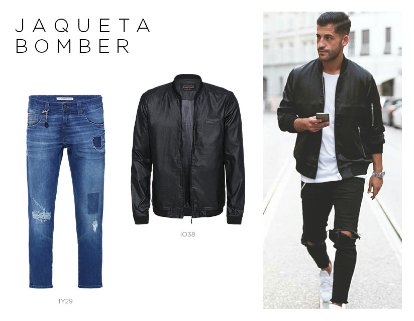 jaqueta bomber com jeans destroyed