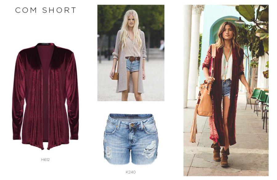 maxi cardigan com short jeans