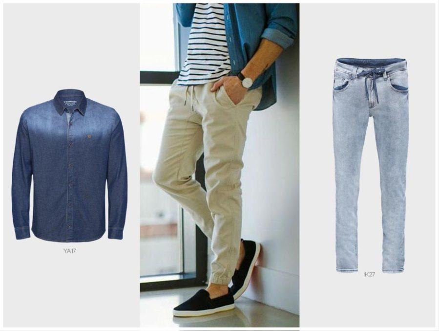 camisa jeans masculina e jogger masculina