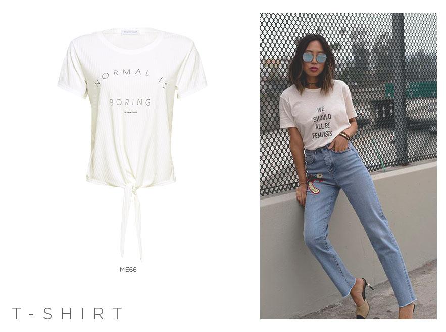 t-shirt tipografica feminina