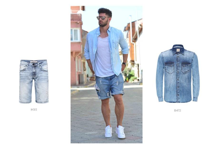bermuda e camisa jeans