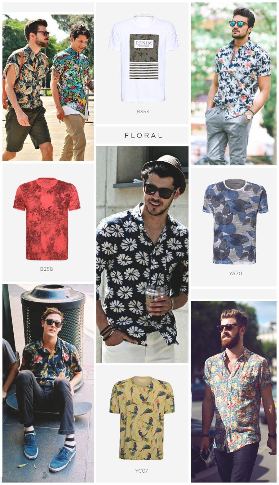 camiseta floral masculina street style