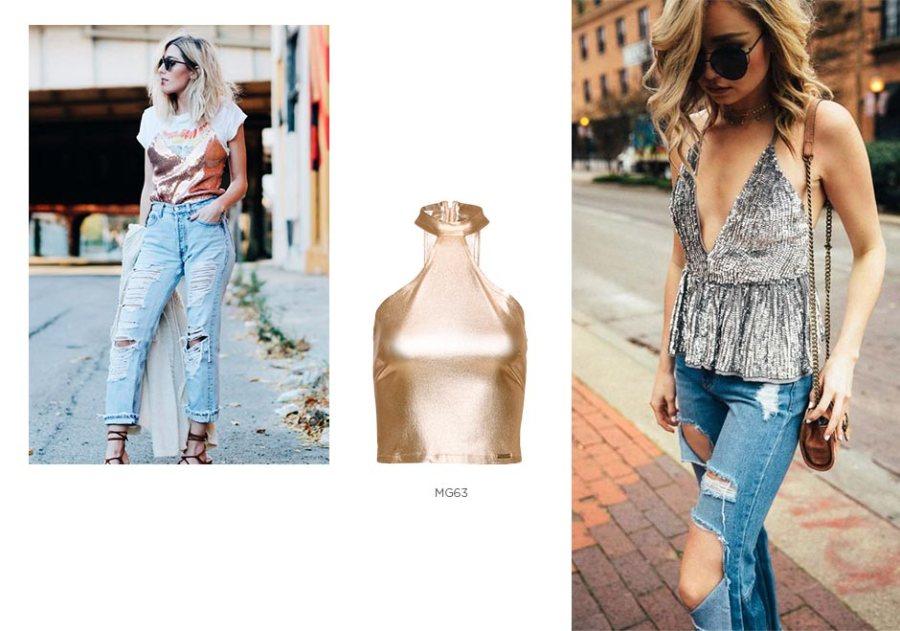 top metalizado jeans