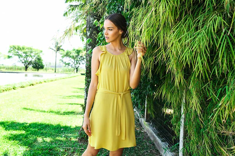 vestido amarelo damyller