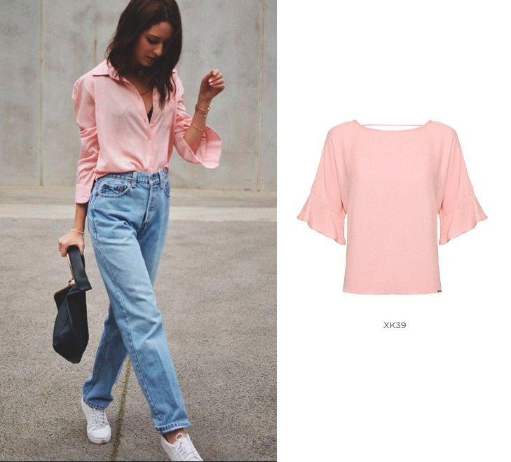 Blusa rosa com calça jeans