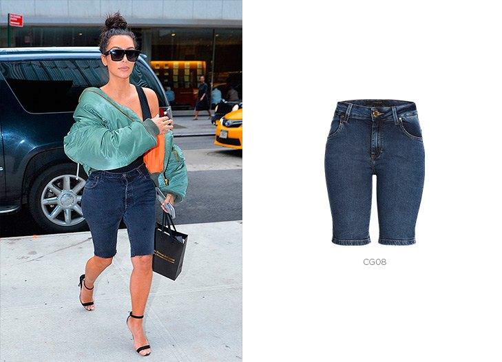 bermudas jeans em look feminino