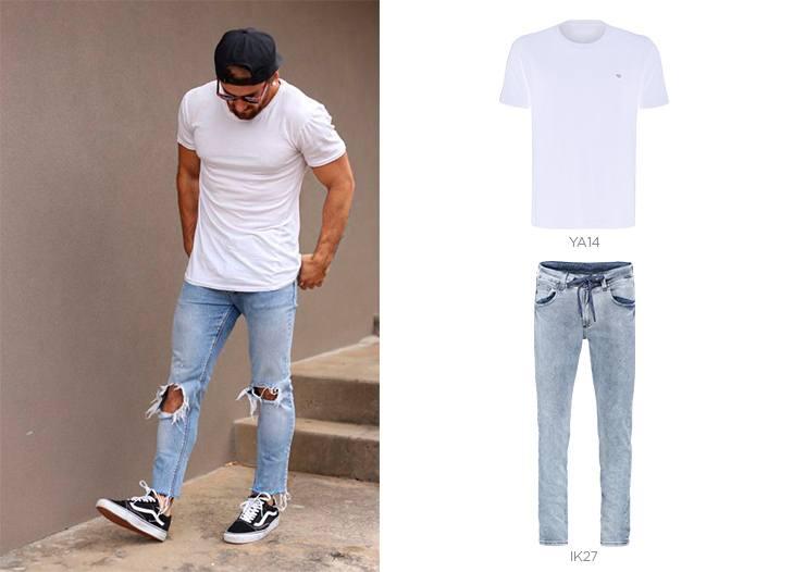 camiseta e jeans claro masculino