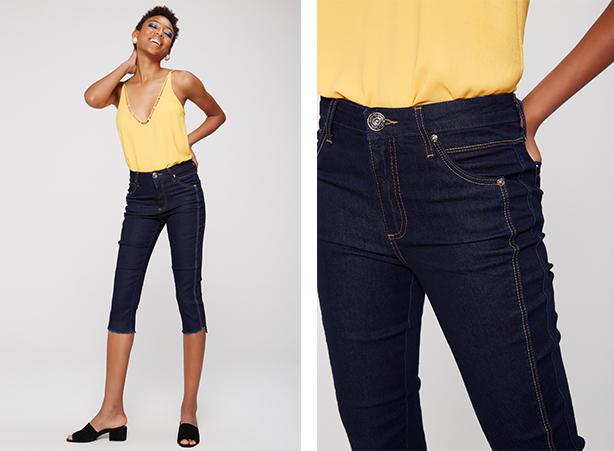 calça jeans capri com listra lateral