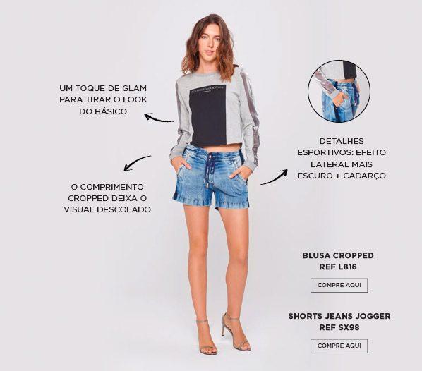 shorts e blusa cropped