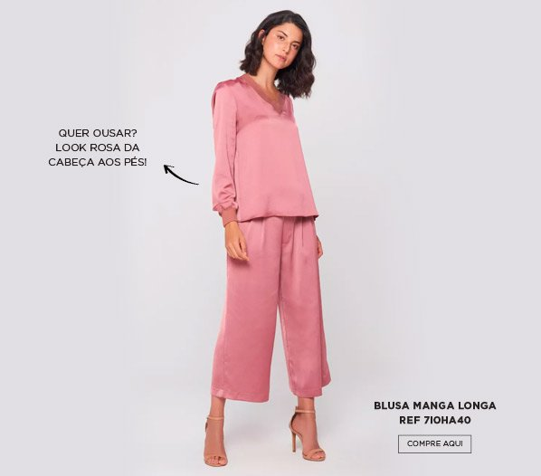 blusa pink manga longa