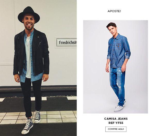 look camisa jeans com jaqueta