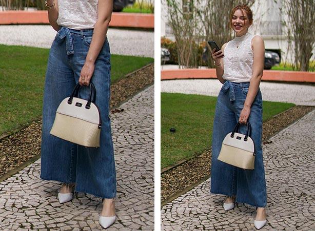 Calça jeans pantacourt com regata