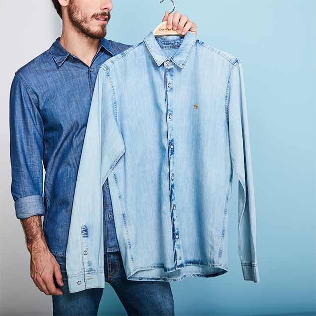 Camisa jeans masculina no look