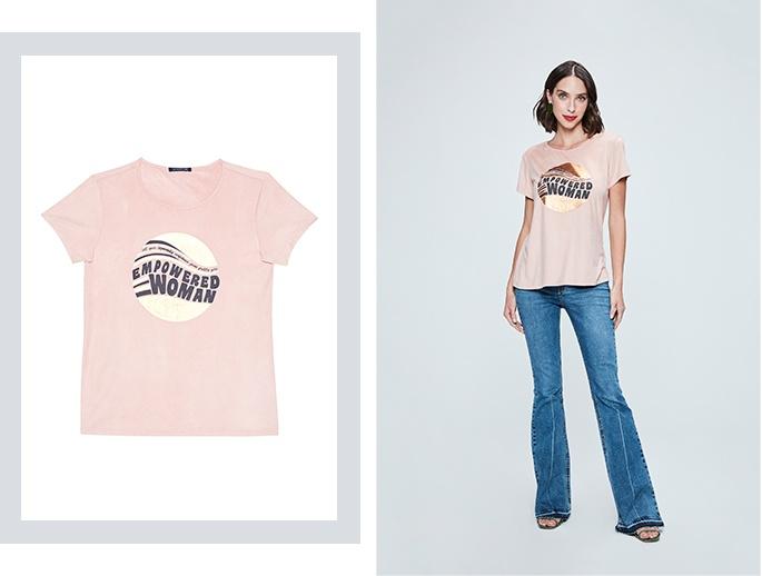 Camiseta de malha rosa claro