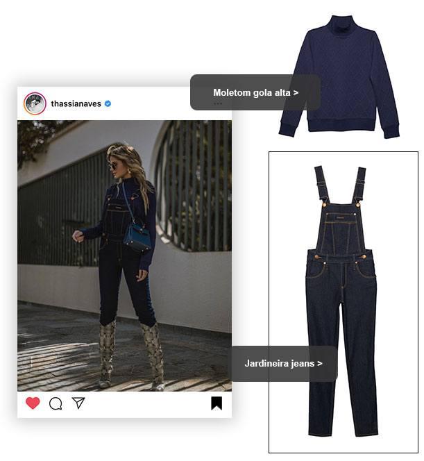 Jardineira jeans skinny com moletom de gola alta.