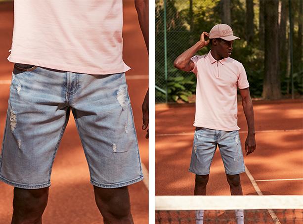 Bermuda masculina jeans claro com desgastes