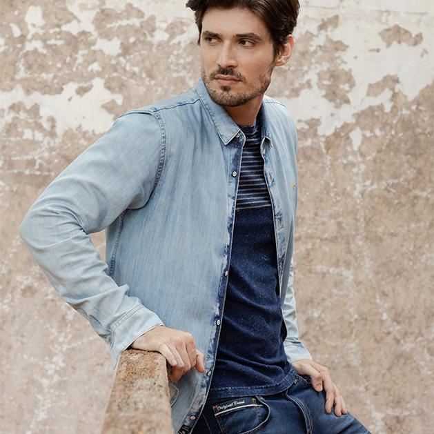 Camisa masculina de manga longa jeans claro