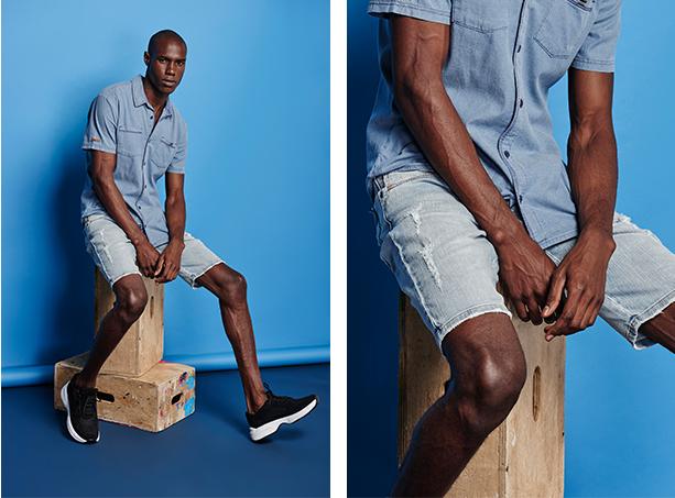 bermuda jeans clara com puídos laterais
