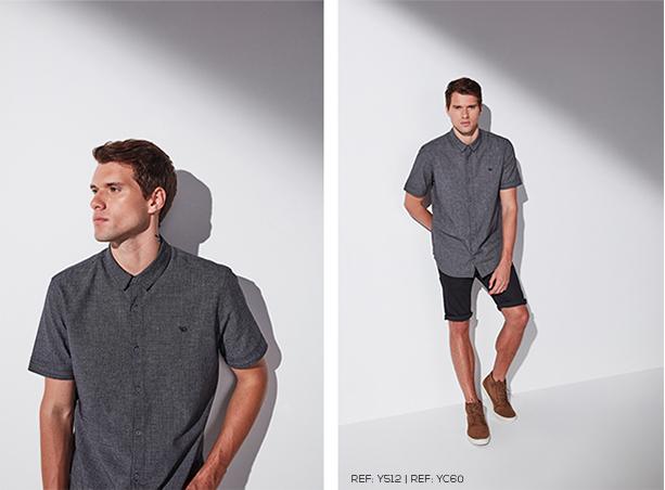 Camisa social masculina cinza de manga curta