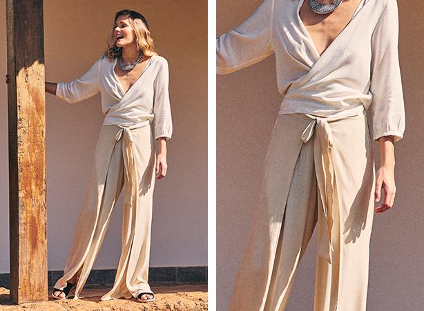 Calça feminina pantalona bege com fenda