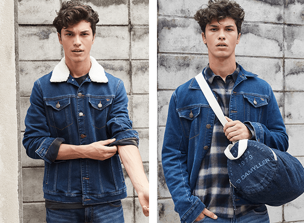 Jaqueta jeans masculina num look all denim