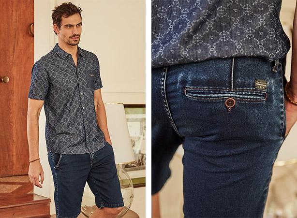 Bermuda masculina em look jeans
