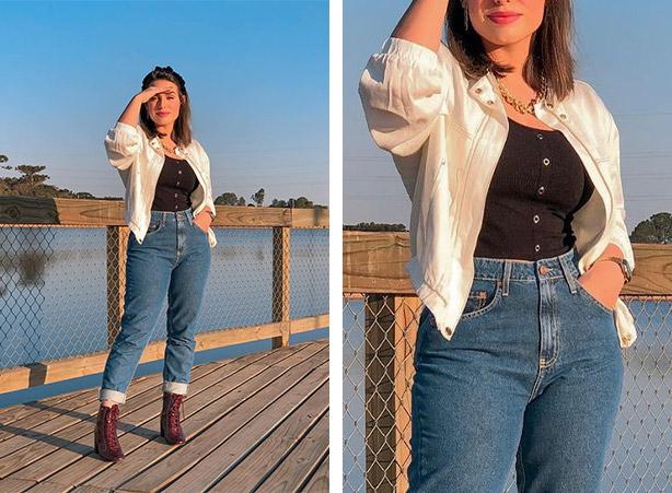 Calça mom jeans com coturno de salto blocado