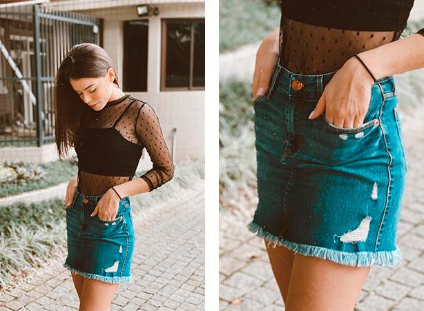 Saia jeans com blusa transparente